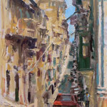 "Old Mint Street, Valletta. 12"" x 9"" Oil on Panel."