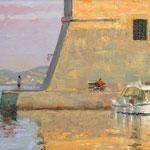 """Sunset on St. John's. Dubrovnik Harbour. 6"""" x 9"""" Oil on Panel.SOLD"""