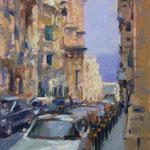 """Street in Valletta. Oil on Panel. 12"""" x 9"""""""