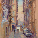 "Old Theatre Street, Valletta. 12"" x 9"". Oil on Panel."