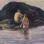 "'Love on the rocks'. Oil on panel,  9"" x 12"""