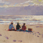 "Sunset Picnic on the Beach. 9"" x 12"" Oil on Panel. SOLD"