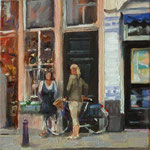 "Conversation on Verwerstraat. 9"" x 12"" Oil on Panel. SOLD"