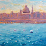 "Valletta from Sliema. 9"" x 12"". Oil on Panel."