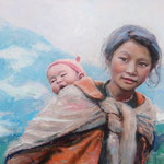 """'Mother of the Mountains', Nepalese Woman and Infant. Oil on Canvas. 20"""" x 30"""""""