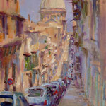 "View to St. Paul's, Valletta, 12"" x 9"" Oil on Panel."