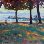 "In the Shade. Zadar. 9"" x 12"" Oil on Panel."
