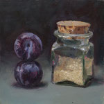 Circus Plums and Appreciative Rice Jar. 8 x 8 inches. Oil on Canvas Panel. SOLD