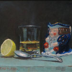 Hot Whiskey and Toby Jug. 10 x 12 inches. Oil on Panel.