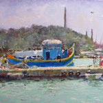 "Folding the Nets, Marsaxlokk. 9"" x 12"". Oil on Panel."