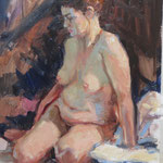 """Seated Model. Oil on panel 14"""" x 11"""""""