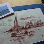 Bild vom Foto zeichnen, Vom Foto ein Original, Zeichnung, Segeln