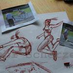 Bild vom Foto zeichnen, Vom Foto ein Original, Zeichnung von Sportlerin