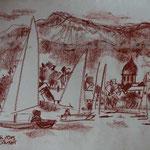 Bild vom Foto zeichnen, Vom Foto ein Original, Kreidezeichnung, Segelboote am Chiemsee
