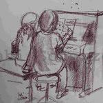 Bild vom Foto zeichnen, Vom Foto ein Original, Kreidezeichnung, Am Klavier