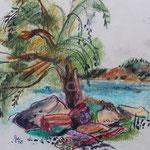 Bild vom Foto zeichnen, Vom Foto ein Original, Kreidezeichnung, Blick im  Urlaub