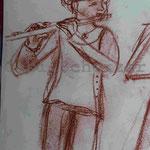 Bild vom Foto zeichnen, Vom Foto ein Original, Kreidezeichnung,  Flötistin