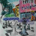Bild vom Foto zeichnen, Vom Foto ein Original, Kreidezeichnung, Schulhof