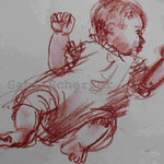 Bild vom Foto zeichnen, Vom Foto ein Original, Kreidezeichnung  zur Taufe