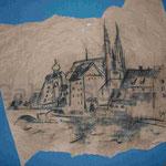 Bild vom Foto zeichnen, Vom Foto ein Original, Regensburg, Kohlezeichnung