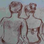Bild vom Foto zeichnen, Vom Foto ein Original, Kreidezeichnung von Pärchen