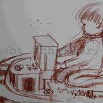 Bild vom Foto zeichnen, Vom Foto ein Original, Kreidezeichnung, Spielendes  Kind