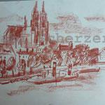 Bild vom Foto zeichnen, Vom Foto ein Original, Kreidezeichnung von Regensburg