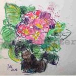 Bild vom Foto zeichnen, Vom Foto ein Original, Kreidezeichnung, Primeln