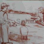 Bild vom Foto zeichnen, Vom Foto ein Original, Zeichnung vom Angeln