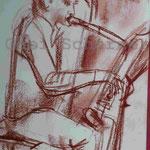 Bild vom Foto zeichnen, Vom Foto ein Original, Kreidezeichnung,  Tubist