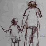 Bild vom Foto zeichnen, Vom Foto ein Original, Kreidezeichnung,  Opa und Enkel