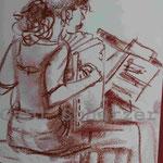 Bild vom Foto zeichnen, Vom Foto ein Original, Kreidezeichnung Akkordeonspielerin