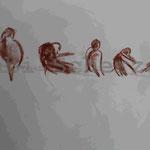 Bild vom Foto zeichnen, Vom Foto ein Original, Kreidezeichnung, Vögel