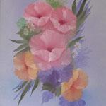 Blumenstrauß, Oel auf LW