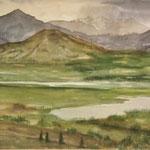 """Weites Land"" Aquarell M.Wettengel"