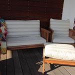 dossiers et assise salon de jardin en tissus