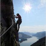 Elfi am Klettersteig Drachenwand-Mondsee