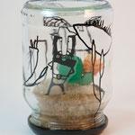 KUNSTimBISS / EINmachGLAS - finger weg! / 2016 / mischtechnik auf und im einmachglas