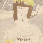 tagesbefindlichkeiten - SPINNENÄUGIGER ZITRONEN-RÖMER / 21 x 30 cm / 26.8.2014 / bleistift, buntstift, goldstift auf liniertem papier
