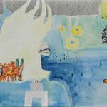 DIE TRAUER DES CRONOPIUMS / 100 x 60 cm / 2011 / mischtechnik auf leinwand