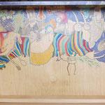 kosmos 1 - UN MONDE DANS UN MONDE / 59 x 38 cm / 2012 / mischtechnik auf holzschublade (VERKAUFT)