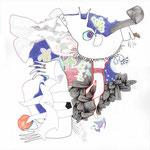 WORTBILDWECHSEL - DER ANFANG / 50 x 50 cm / 2014 / mischtechnik auf papier