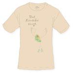 farbiges t-shirt mit aufdruck QUASTEN FUSS VOGEL + TEXT, beispielbild