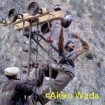 送電の設置をするアジス技師