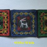 2.山羊模様のコースターセット(赤青緑)