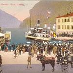 La banda di Riva suona per l'arrivo del battello. Primi del 1900