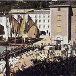 La banda di Riva segue la processione del Corpus Domini. Primi del 1900