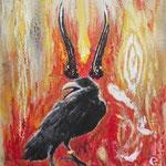 """""""Guardiano della saggezza"""", pezzo unico, pittura acrilica/collage"""