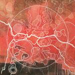 """Giunture neurologiche"", pittura acrilica su tela, 30x30 cm"