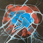 """Amoeba"", pittura acrilica su tela, 30x30 cm"
